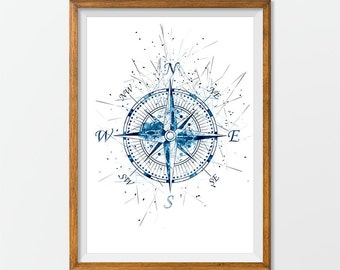 Compass Print, Nautical Art, Nautical Illustration, Compass Poster, Modern Print