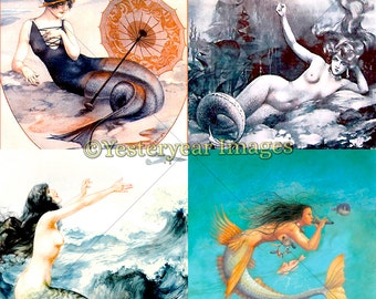 Vintage MERMAID ILLUSTRATIONS - Digital Images Collage Sheets - Instant Download - 3 PNG Files 4x4 - 2x2 - 1x1