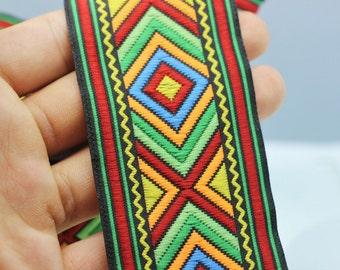 50 mm Colorful African Motif Ribbon (1.96 inches) -  Vintage Jacquard -African Pattern Ribbon - Sewing Trim - Jacquard Trim
