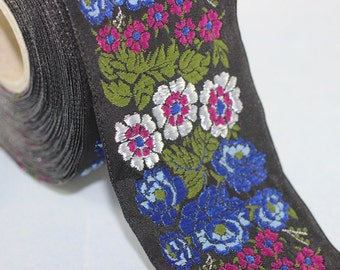 22 mm Blue Floral Embroidered ribbon (0.86 inches) -  Vintage Jacquard -Floral ribbon - Sewing trim - Jacquard trim
