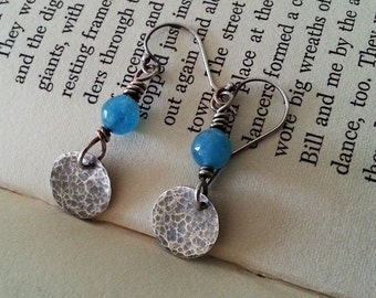 Blue Stone Earrings, rustic jewelry, sterling silver earthy earrings, blue Angelite, rustic earrings, boho jewelry, anniversary gift for her