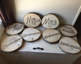 Rustic custom wood burned log pieces   Wedding   Mr   Mrs