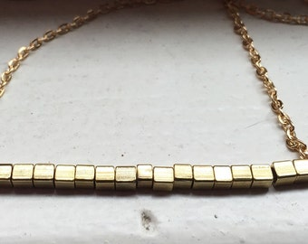 Petite Gold Bar Necklace