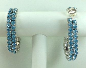 Aquamarine Glitterati Bracelet - Swarovski Crystals, Magnetic Clasp, Silver