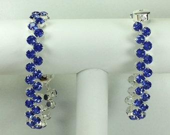 Sapphire Redbud Bracelet - Swarovski Crystals, Magnetic Clasp, Silver Plate