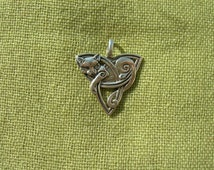 "Pendant ""Celtic Cat"". Sterling siver celtic amulet. Ethnic talisman. Celtic ornament."