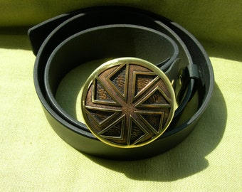 Leather belt with Solid Bronze buckle. Kolovrat. Slavic symbol. Slavic Wheel. Solar symbol. Nordic. Viking. Bronze buckle. Pure Leather.
