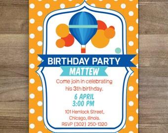 Hot air balloon Birthday Party   Boy Party   Ballon Party   Printable Invitation 5 x7   My 3th
