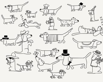 Dachshunds in hats illustration