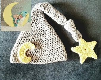 Crochet Newborn Moon and Star Beanie Prop