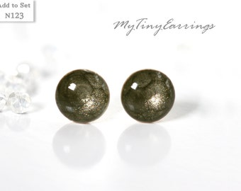 6mm Mens Jewelry Gray Stud Earrings Mini Tiny Dark  - Stainless Steel Gold Plated Posts plus High Quality Epoxy Resin 123