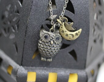 Owl with Moon and Star Pendant Necklace