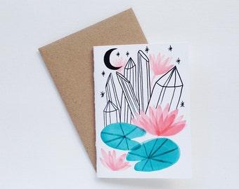 Crystal Lily Pad Moon Small Card