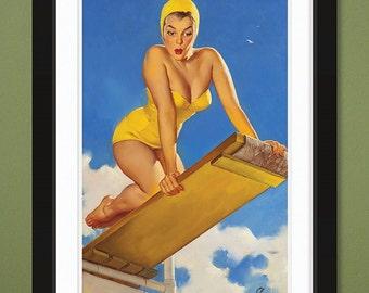 Gil Elvgren – High and Shy 1950 (12x18 Heavyweight Art Print)