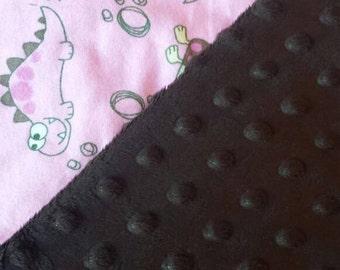 Pink Dinosaur Minky Baby Blanket
