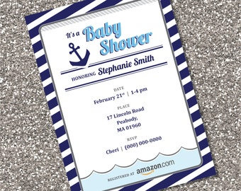 Anchor - Nautical Baby Shower Invitation