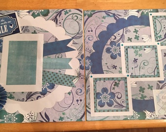 Blue smile 2 page scrapbook layout