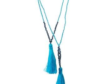 Handmade necklace hippie style aquamarine puff
