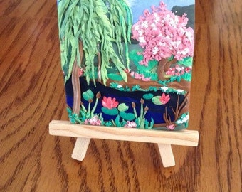 Polymer clay mini painting: Thinking of Monet's garden