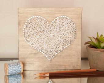 7x7 White Heart String Art