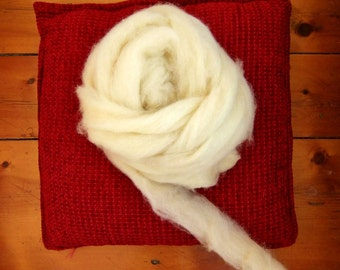 Icelandic Wool Roving, Creamy White
