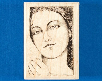 Woman in Waiting Rubber Stamp - Close Up Stipple Art Portrait of Woman with Long Hair, Standing or Lying Down - Stampabilities GR1062