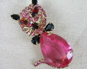 Vintage 1950s Kitty Brooch 50s Pink Rhinestone Kitty Cat Brooch by Alice Caviness