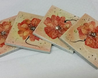 Orange Poppies Coasters