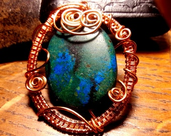Chrysocolla in Green, Blue and Black wire-wrapped stone