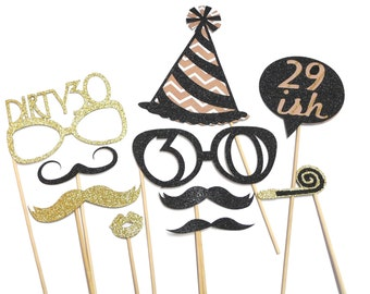 Photo Booth Props - 10PC Dirty 30 Birthday Party Photo Booth Props