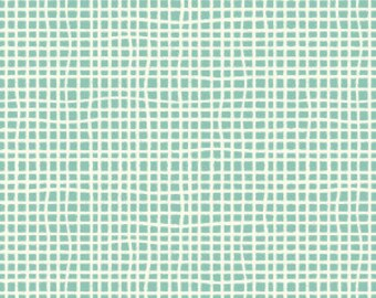 Clearance On Sale!!!Birch Fabrics Organic Quilting Cotton Woven in Pool Designed by Jay-Cyn, Squares, Teal, Modern Fabric, Modern Quilt