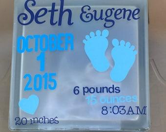 Birth announcement glass block