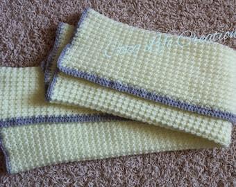 "Crocheted Baby Blanket; 25.5"" x 33"""