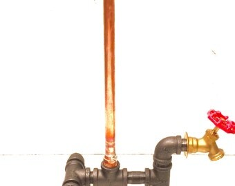 Steampunk Industrial Copper Paper Towel Holder with red faucet