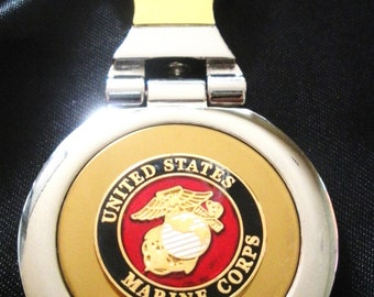 Marine Corps 18K Gold Filled with Silver Trim Key Chain-Free Engraving