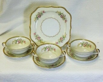"Vintage Antique Noritake ""M"" Flowered Dinnerware Set of 7 Pieces, 3 Two Handled Soup Bowls & Saucers and 1 Plate, Collectible, Wedding Decor"
