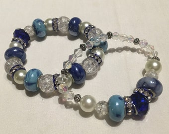 Beaded Stretch Bracelet Set, Blue Tones