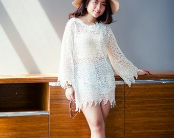 White Lace Top. Long Sleeve. Bubble Lace with Floral Lace Embellish. Handmade. Ships Worldwide.