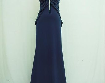 Dark Blue Backless Ball Gown, Gypsy Prom Dress, Bridesmaid Dress, Boho Party Dress, Long Black Dress, Bohemian Style Gown, Formal Dress