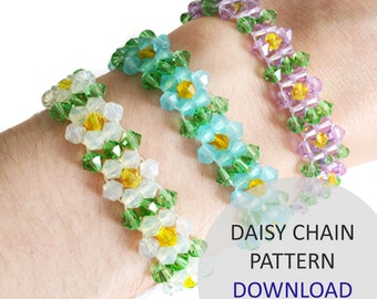 Jewellery Pattern Download / Kleshna Right Angle Weave Festival Daisy Chain Crystal Project Download