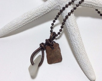 Real Sea Glass and Copper Necklace - Handmade