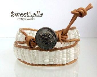 Genuine Leather Wrap Bracelet, Stacked Friendship Bracelet, Bohemian Jewelry, Boho Bohemian Chic