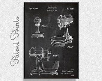 Food Mixing 1935 Patent Print, Kitchen Wall Decor, Kitchen Wall Art, Restaurant Decor, Dining Room Wall Decor