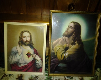 Vintage Pair of prints of Jesus - 50's