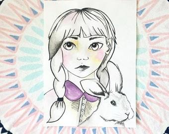 Girl & Bunny Print