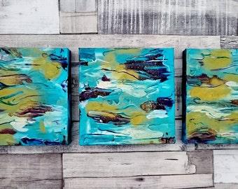 Contemporary art trio of canvases