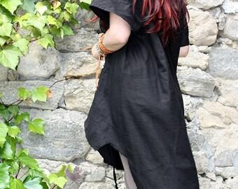 Asymmetrical  Linen dress/ Linen  tunic/ Black dress