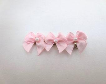 Tiny Pink Bows Hair Clip - Pastel Fairy Kei Decora Accessory Pop Cute Kawaii Sweet