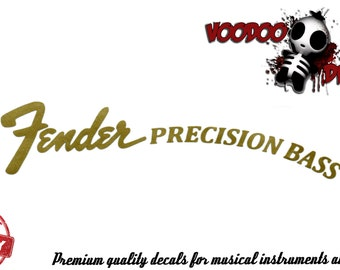 Fender Precision Bass Gold Vinyl Headstock Decal
