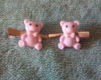 Lavender or Baby Blue Kawaii Teddy Bear hair clips ~ fairy kei ~